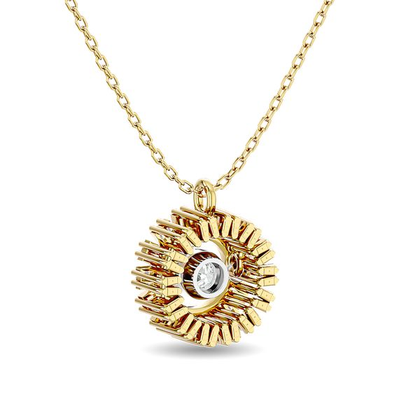 Diamond 1/6 ct tw Flower Pendant in 10K Yellow Gold Image 4 Robert Irwin Jewelers Memphis, TN
