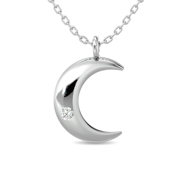 Diamond 1/20 ct tw Moon Pendant in Sterling Silver Robert Irwin Jewelers Memphis, TN