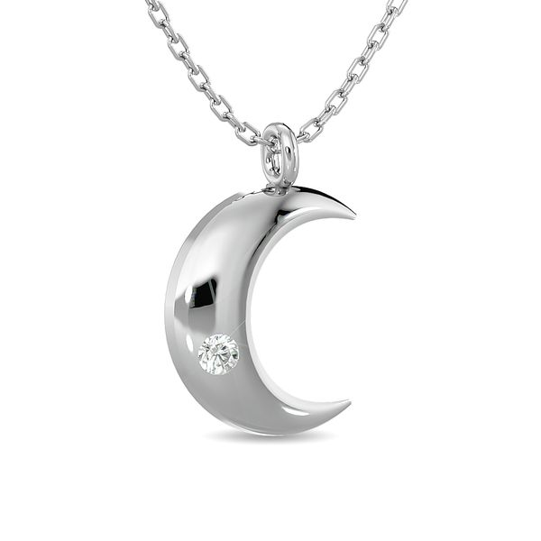 Diamond 1/20 ct tw Moon Pendant in Sterling Silver Image 2 Robert Irwin Jewelers Memphis, TN
