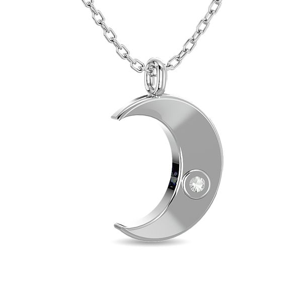 Diamond 1/20 ct tw Moon Pendant in Sterling Silver Image 4 Robert Irwin Jewelers Memphis, TN