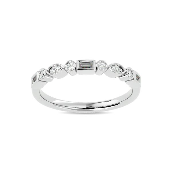 Diamond 1/5 ct tw Round and Straight Baguette Stackable Ring in 14K White Gold Robert Irwin Jewelers Memphis, TN