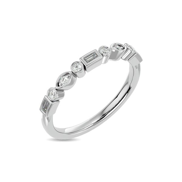 Diamond 1/5 ct tw Round and Straight Baguette Stackable Ring in 14K White Gold Image 2 Robert Irwin Jewelers Memphis, TN