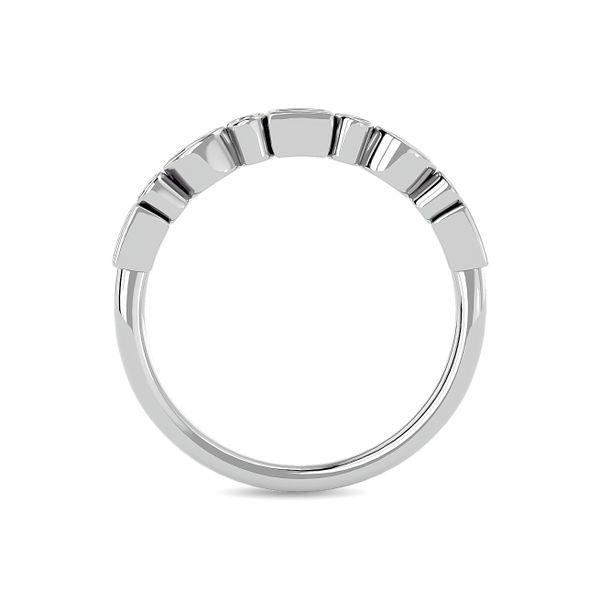 Diamond 1/5 ct tw Round and Straight Baguette Stackable Ring in 14K White Gold Image 4 Robert Irwin Jewelers Memphis, TN