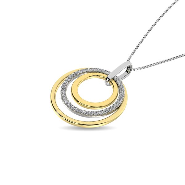 Diamond 1/5 ct tw Fashion Pendant in 14K Two Tone Gold Image 2 Robert Irwin Jewelers Memphis, TN