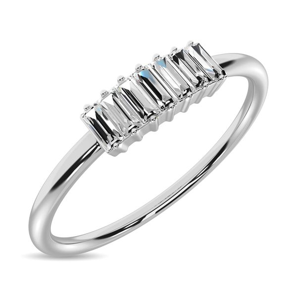 Diamond 1/10 ct tw Baguette Cut Fashion Ring in 14K White Gold Robert Irwin Jewelers Memphis, TN