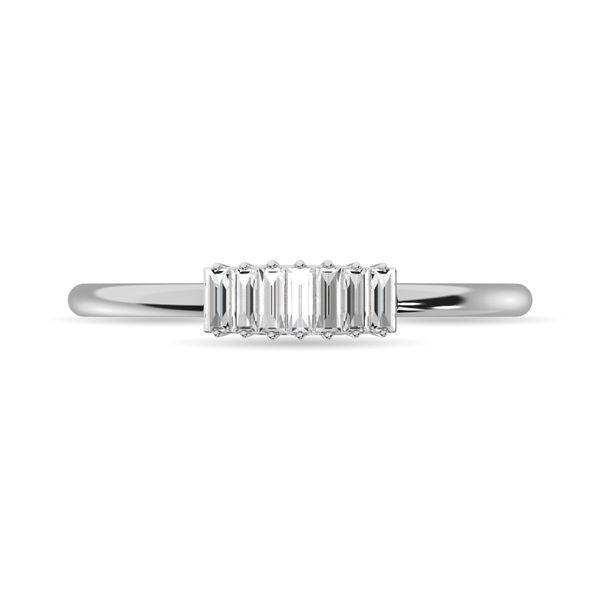 Diamond 1/10 ct tw Baguette Cut Fashion Ring in 14K White Gold Image 3 Robert Irwin Jewelers Memphis, TN