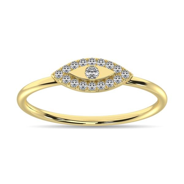 Diamond 1/10 ct tw Round Cut Fashion Ring in 10K Yellow Gold Image 2 Robert Irwin Jewelers Memphis, TN