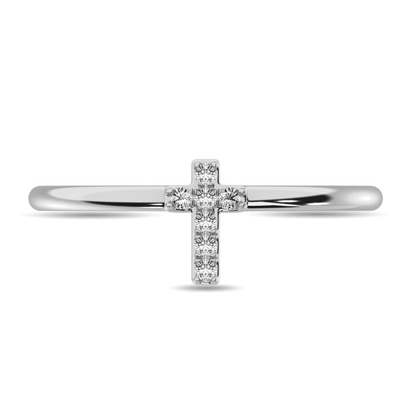 Diamond 1/20 ct tw Round Cut Cross Ring in 10K White Gold Image 3 Robert Irwin Jewelers Memphis, TN