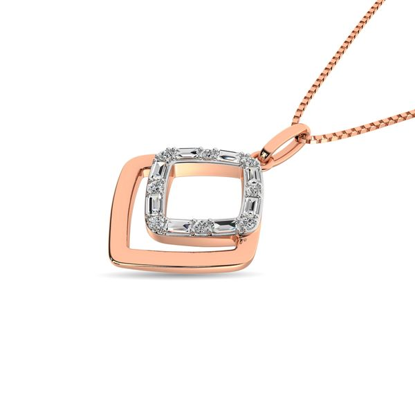 Diamond 1/10 ct tw Fashion Pendant in 14K Two Tone Gold Image 2 Robert Irwin Jewelers Memphis, TN