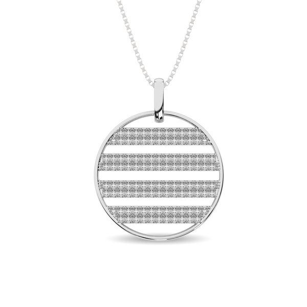 Diamond 3/8 ct tw Circle Shape Pendant in 14K White Gold Robert Irwin Jewelers Memphis, TN