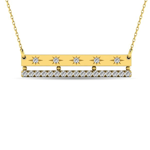 Diamond 1/5 ct tw Bar Necklace in 14K Yellow Gold Robert Irwin Jewelers Memphis, TN