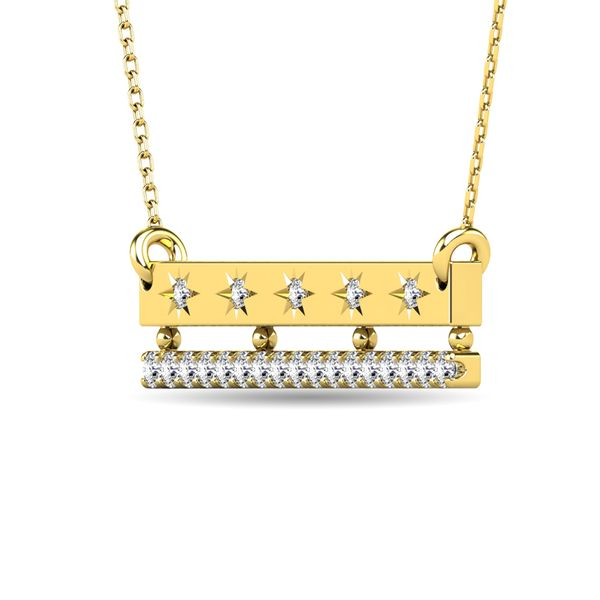 Diamond 1/5 ct tw Bar Necklace in 14K Yellow Gold Image 2 Robert Irwin Jewelers Memphis, TN