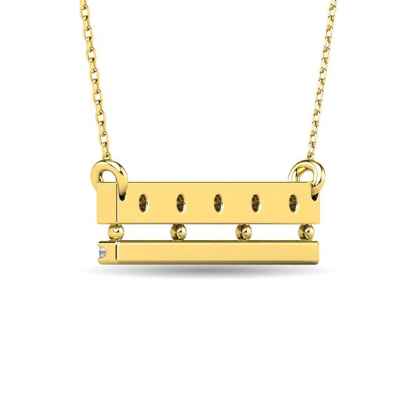 Diamond 1/5 ct tw Bar Necklace in 14K Yellow Gold Image 3 Robert Irwin Jewelers Memphis, TN