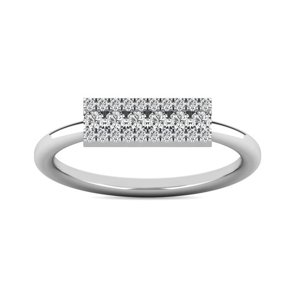 Diamond 1/4 ct tw Bar Ring in 14K White Gold Image 2 Robert Irwin Jewelers Memphis, TN