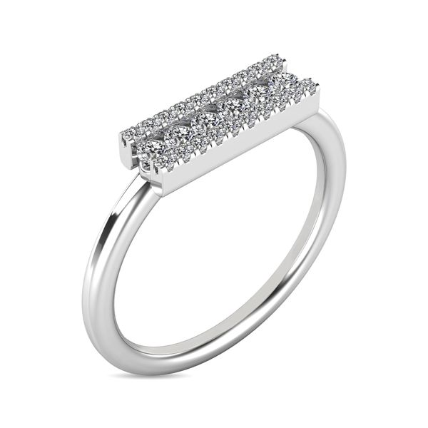 Diamond 1/4 ct tw Bar Ring in 14K White Gold Image 3 Robert Irwin Jewelers Memphis, TN