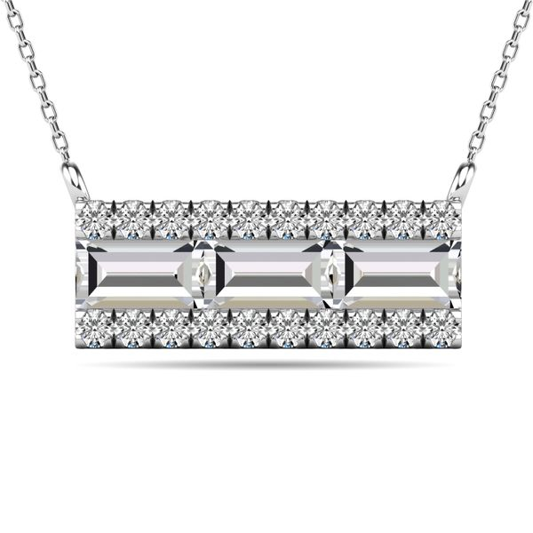 Diamond 1/2 ct tw Bar Necklace in 14K White Gold Robert Irwin Jewelers Memphis, TN
