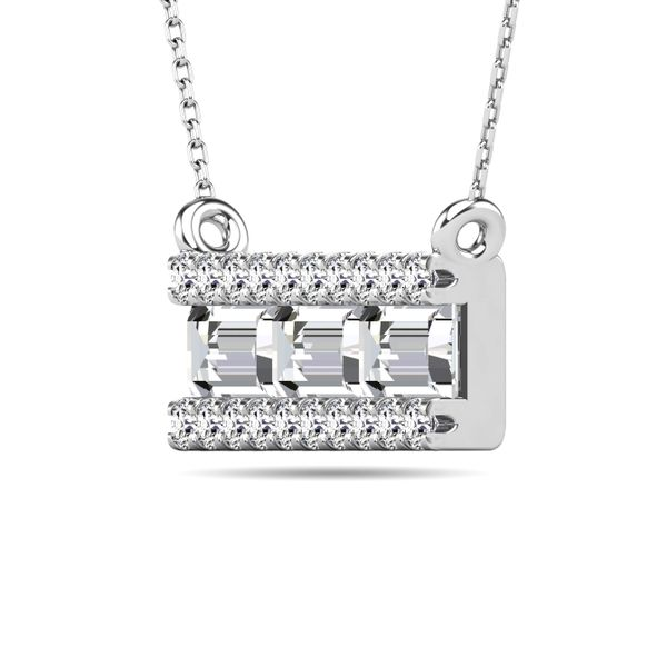 Diamond 1/2 ct tw Bar Necklace in 14K White Gold Image 2 Robert Irwin Jewelers Memphis, TN