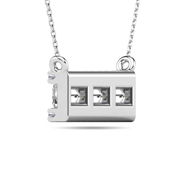 Diamond 1/2 ct tw Bar Necklace in 14K White Gold Image 3 Robert Irwin Jewelers Memphis, TN