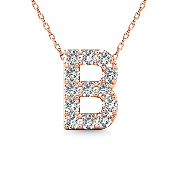"Diamond 1/8 Ct.Tw. Letter ""B"" Pendant in 14K Rose Gold Robert Irwin Jewelers Memphis, TN"