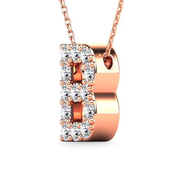 "Diamond 1/8 Ct.Tw. Letter ""B"" Pendant in 14K Rose Gold Image 2 Robert Irwin Jewelers Memphis, TN"