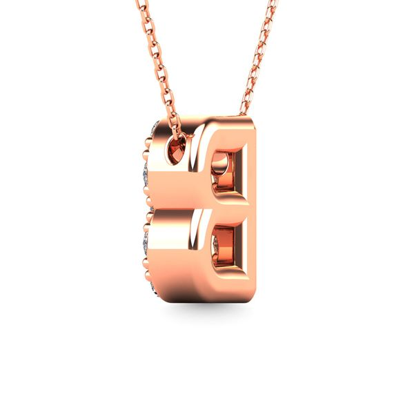"Diamond 1/8 Ct.Tw. Letter ""B"" Pendant in 14K Rose Gold Image 3 Robert Irwin Jewelers Memphis, TN"