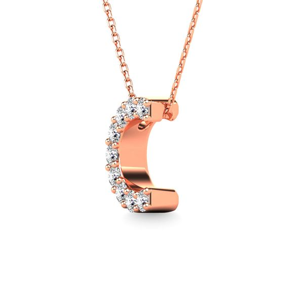 "Diamond 1/10 Ct.Tw. Letter ""C"" Pendant in 14K Rose Gold Image 2 Robert Irwin Jewelers Memphis, TN"