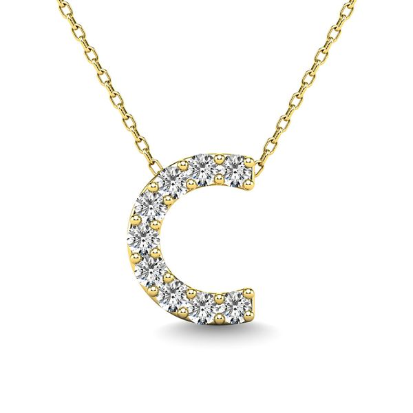 "Diamond 1/10 Ct.Tw. Letter ""C"" Pendant in 14K Yellow Gold Robert Irwin Jewelers Memphis, TN"