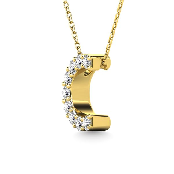"Diamond 1/10 Ct.Tw. Letter ""C"" Pendant in 14K Yellow Gold Image 2 Robert Irwin Jewelers Memphis, TN"