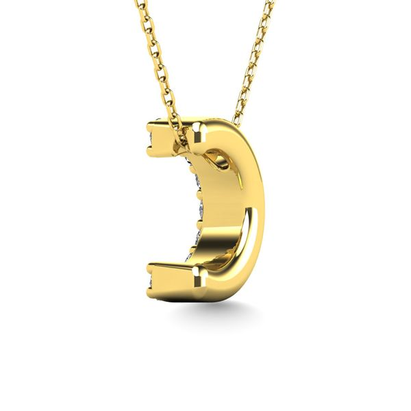"Diamond 1/10 Ct.Tw. Letter ""C"" Pendant in 14K Yellow Gold Image 3 Robert Irwin Jewelers Memphis, TN"