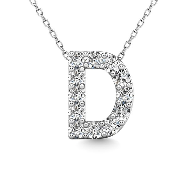 "Diamond 1/8 Ct.Tw. Letter D"" Pendant in 14K White Gold"" Robert Irwin Jewelers Memphis, TN"