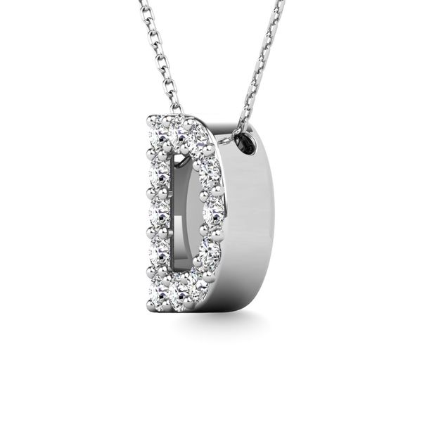 "Diamond 1/8 Ct.Tw. Letter D"" Pendant in 14K White Gold"" Image 2 Robert Irwin Jewelers Memphis, TN"