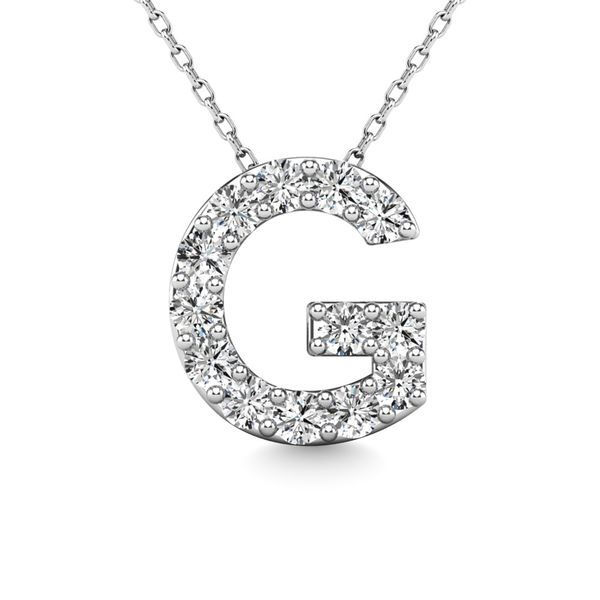 "Diamond 1/8 Ct.Tw. Letter G"" Pendant in 14K White Gold"" Robert Irwin Jewelers Memphis, TN"