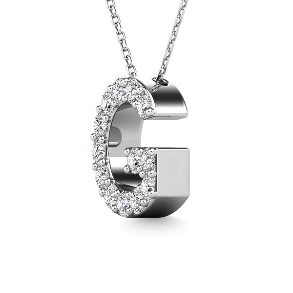 "Diamond 1/8 Ct.Tw. Letter G"" Pendant in 14K White Gold"" Image 2 Robert Irwin Jewelers Memphis, TN"
