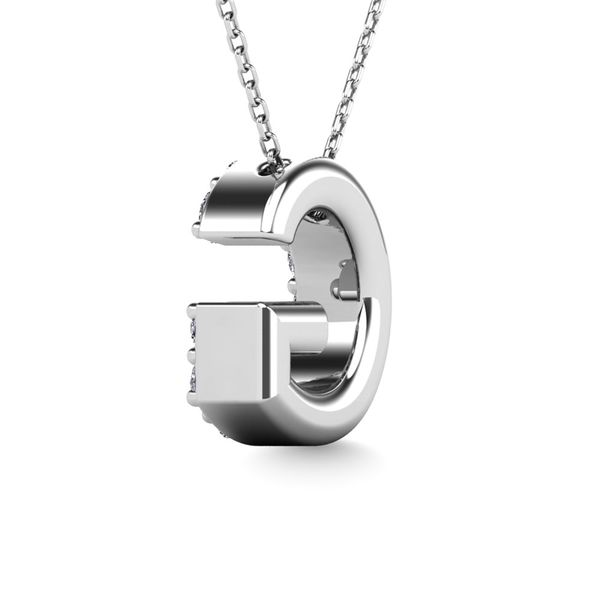"Diamond 1/8 Ct.Tw. Letter G"" Pendant in 14K White Gold"" Image 3 Robert Irwin Jewelers Memphis, TN"
