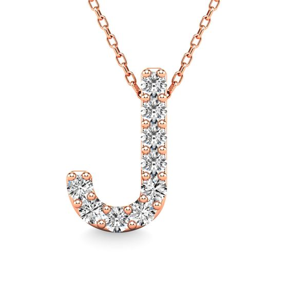 "Diamond 1/10 Ct.Tw. Letter ""J"" Pendant in 14K Rose Gold Robert Irwin Jewelers Memphis, TN"