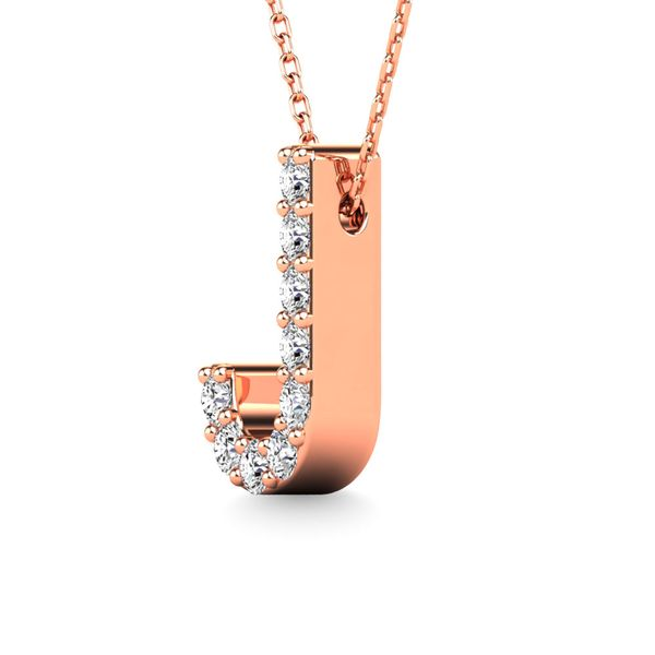 "Diamond 1/10 Ct.Tw. Letter ""J"" Pendant in 14K Rose Gold Image 2 Robert Irwin Jewelers Memphis, TN"