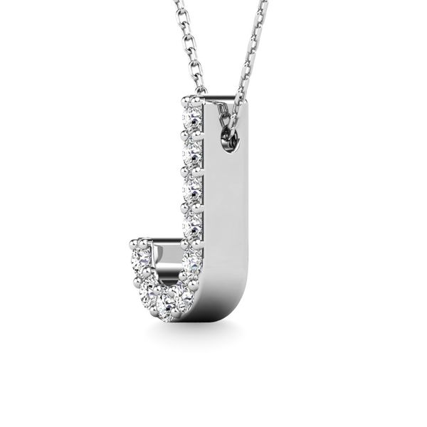 "Diamond 1/10 Ct.Tw. Letter J"" Pendant in 14K White Gold"" Image 2 Robert Irwin Jewelers Memphis, TN"