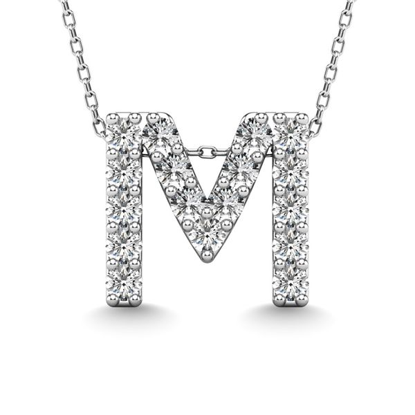 "Diamond 1/6 Ct.Tw. Letter M"" Pendant in 14K White Gold"" Robert Irwin Jewelers Memphis, TN"
