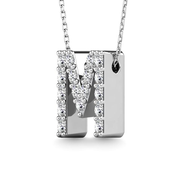 "Diamond 1/6 Ct.Tw. Letter M"" Pendant in 14K White Gold"" Image 2 Robert Irwin Jewelers Memphis, TN"