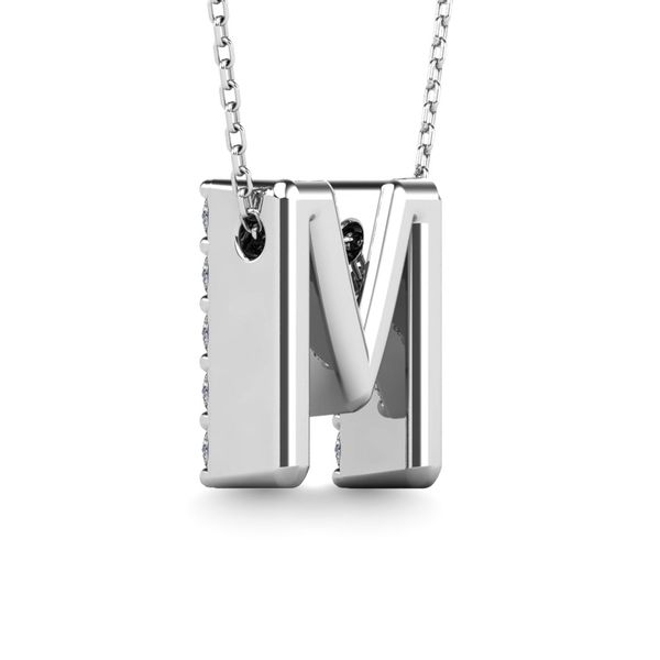 "Diamond 1/6 Ct.Tw. Letter M"" Pendant in 14K White Gold"" Image 3 Robert Irwin Jewelers Memphis, TN"