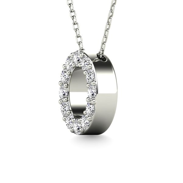 "Diamond 1/8 Ct.Tw. Letter O"" Pendant in 14K White Gold"" Image 2 Robert Irwin Jewelers Memphis, TN"