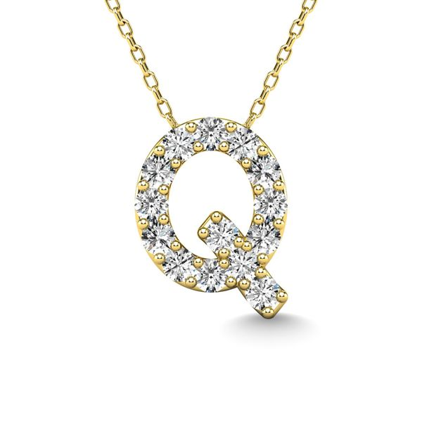 "Diamond 1/6 Ct.Tw. Letter Q"" Pendant in 14K Yellow Gold"" Robert Irwin Jewelers Memphis, TN"