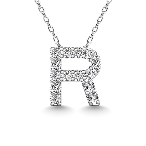 "Diamond 1/8 Ct.Tw. Letter R"" Pendant in 14K White Gold"" Robert Irwin Jewelers Memphis, TN"