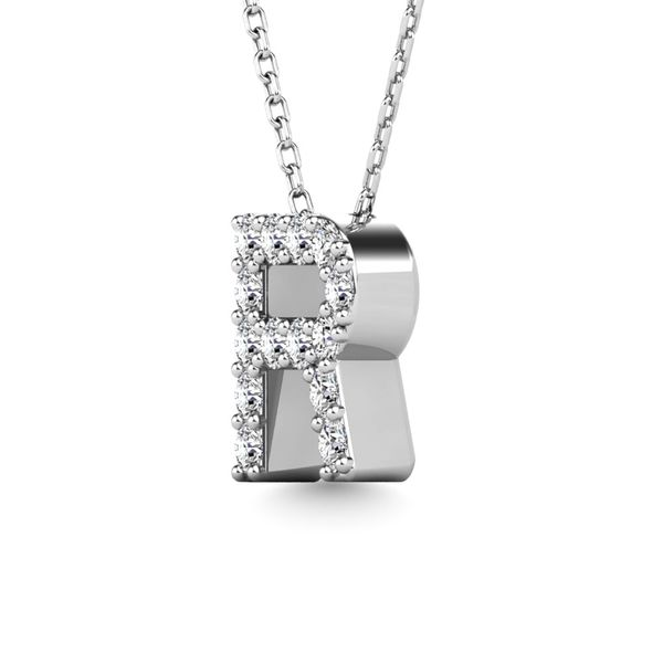 "Diamond 1/8 Ct.Tw. Letter R"" Pendant in 14K White Gold"" Image 2 Robert Irwin Jewelers Memphis, TN"