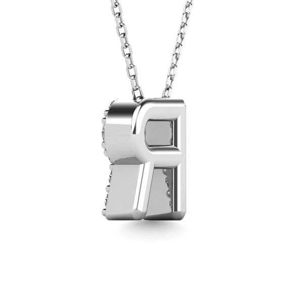 "Diamond 1/8 Ct.Tw. Letter R"" Pendant in 14K White Gold"" Image 3 Robert Irwin Jewelers Memphis, TN"