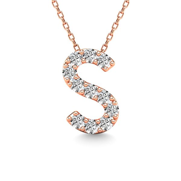 "Diamond 1/10 Ct.Tw. Letter ""S"" Pendant in 14K Rose Gold Robert Irwin Jewelers Memphis, TN"