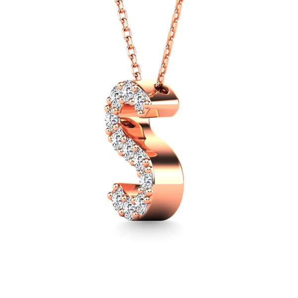 "Diamond 1/10 Ct.Tw. Letter ""S"" Pendant in 14K Rose Gold Image 2 Robert Irwin Jewelers Memphis, TN"