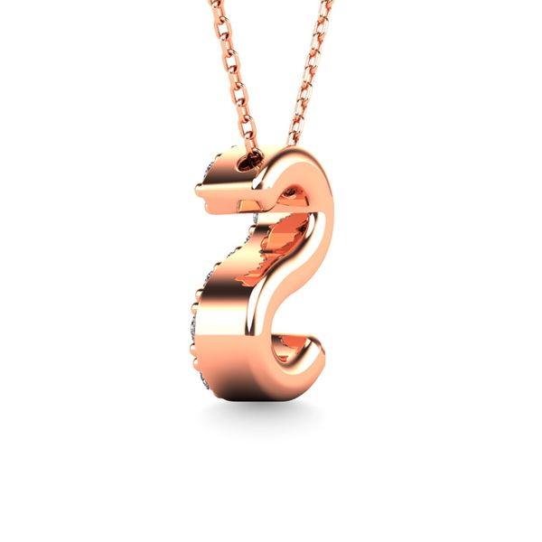 "Diamond 1/10 Ct.Tw. Letter ""S"" Pendant in 14K Rose Gold Image 3 Robert Irwin Jewelers Memphis, TN"