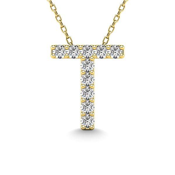 "Diamond 1/10 Ct.Tw. Letter ""T"" Pendant in 14K Yellow Gold Robert Irwin Jewelers Memphis, TN"