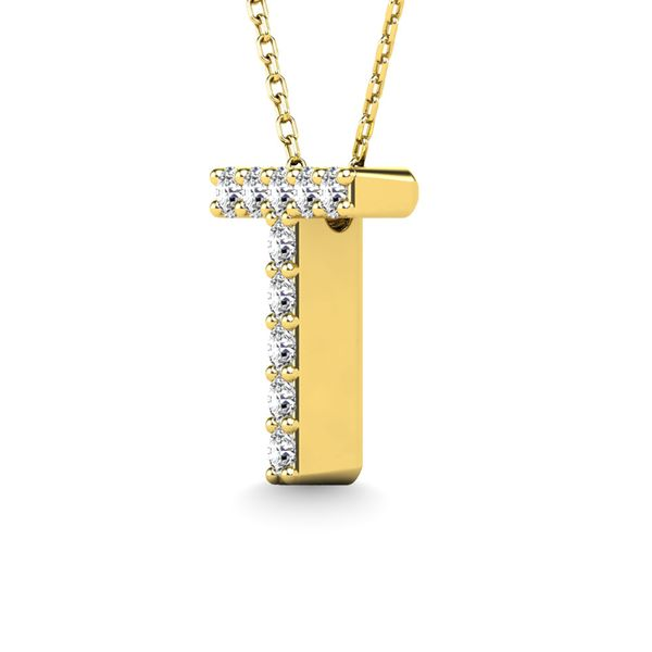 "Diamond 1/10 Ct.Tw. Letter ""T"" Pendant in 14K Yellow Gold Image 2 Robert Irwin Jewelers Memphis, TN"